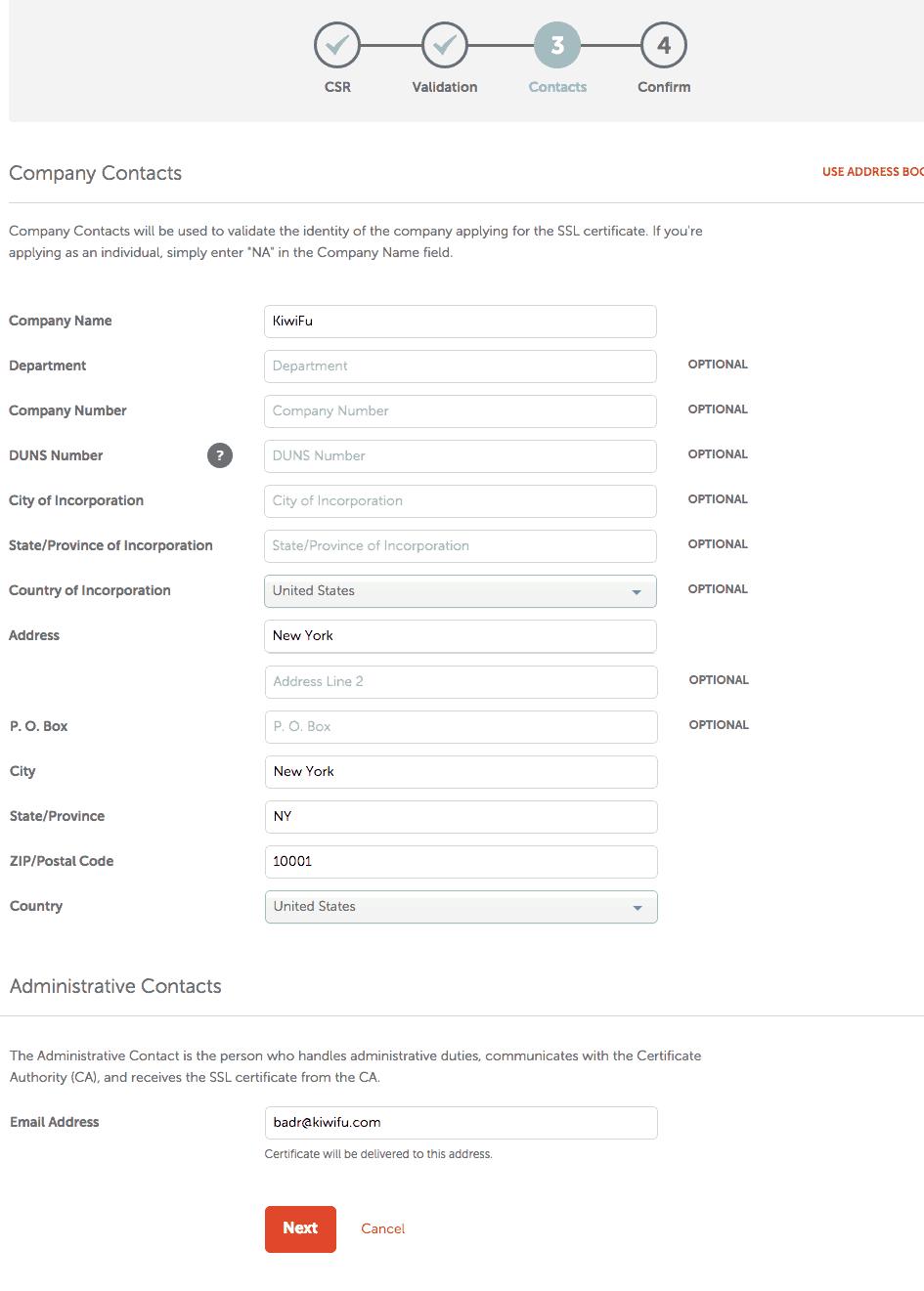 NameCheap SSL Company Contacts