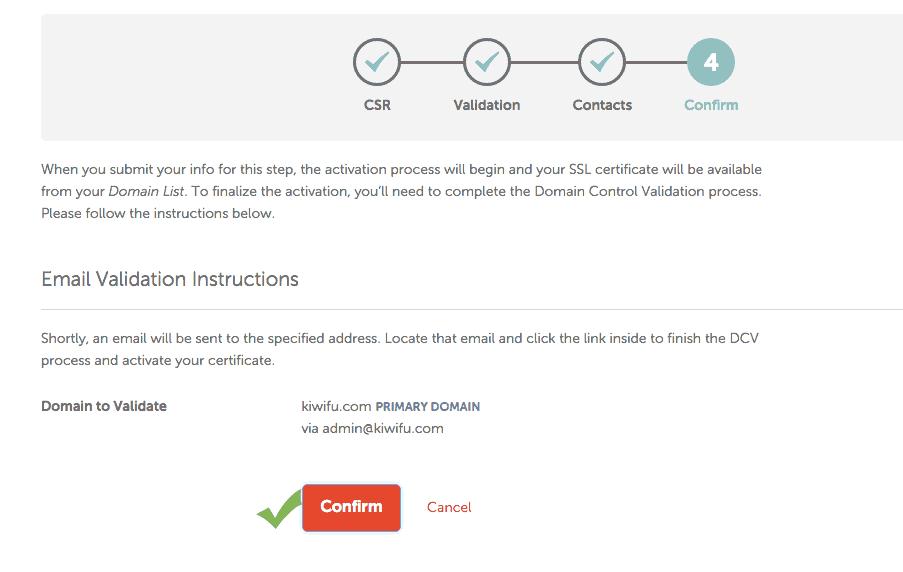 NameCheap SSL Confirm Contacts