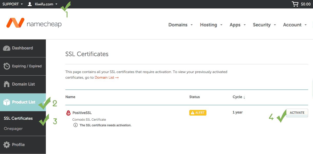 NameCheap account SSL