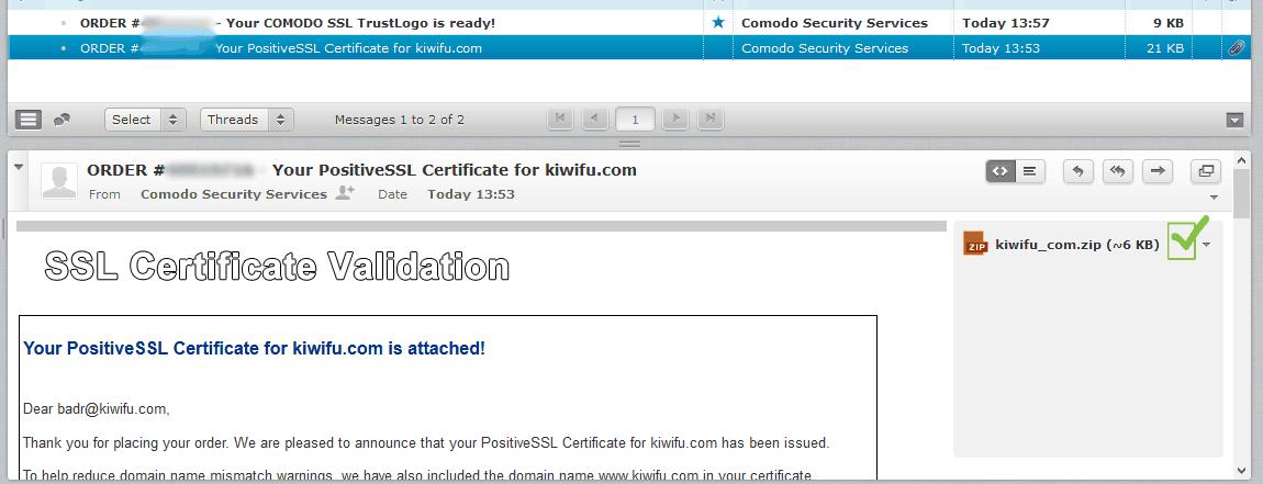 SSL Validation 2nd Email