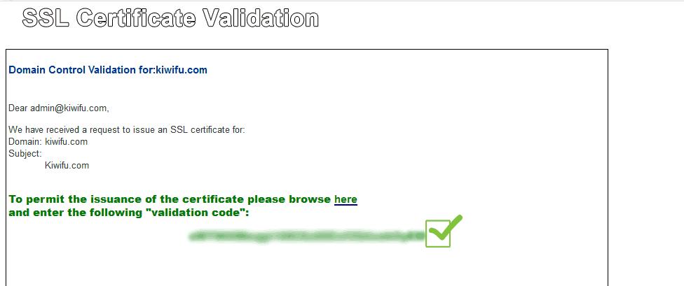 SSL Validation Email