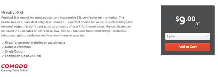 شراء شهادة الأمان SSL من Namecheap