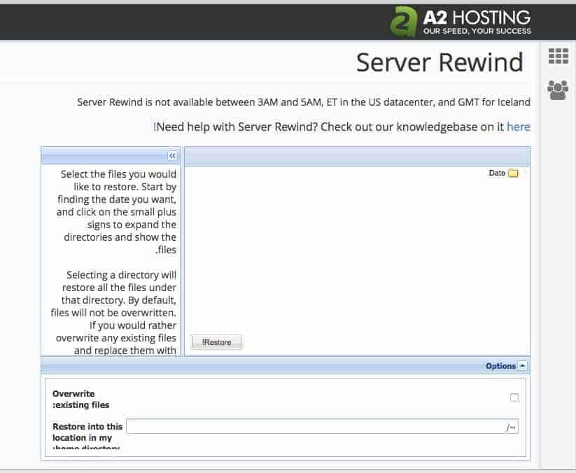 A2 Hosting Server Rewind