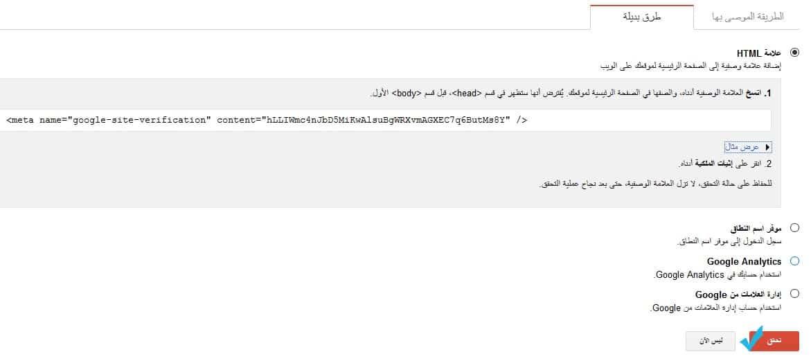 Verify Google Search Console Tag