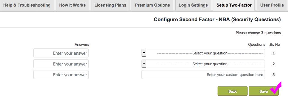 Configure Second Factor - KBA