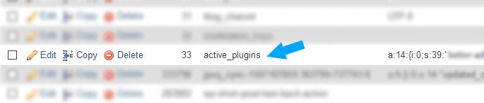 Active Plugins phpMyAdmin