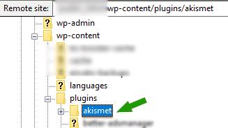 تعطيل إضافة الووردبريس عن طريق FTP