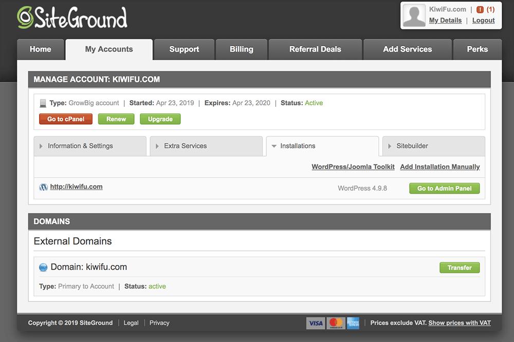 صفحة حسابك My Account في SiteGround