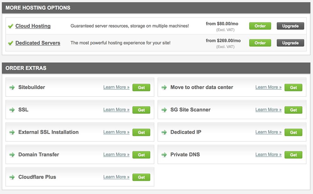 More Hosting Options Siteground
