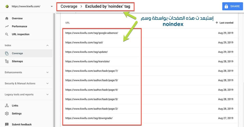 Google Search Console Coverage Excluded by noindex