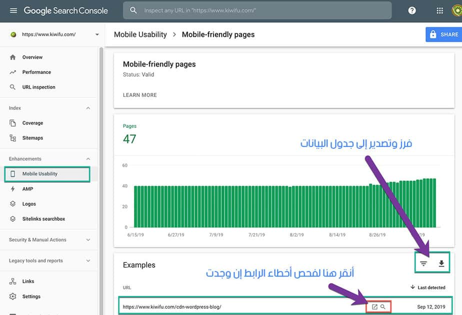 Google Search Console Mobile Usability Check URL