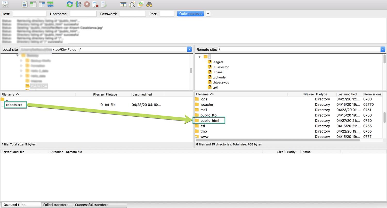 إضافة ملف Robots.txt يدويا بإستخدام FTP